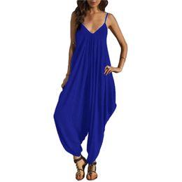 $enCountryForm.capitalKeyWord UK - New Fashion Women Sexy Deep V-neck Backless Strap Jumpsuit Ladies Loose Summer Beach Harem Jumpsuits Romper Playsuit Pants wz011