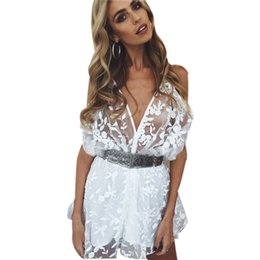 $enCountryForm.capitalKeyWord UK - Women ladies summer autumn V-Neck sexy playsuits fashion long sleeve sheer lace patchwork hollow bandage skinny Jumpsuits #H