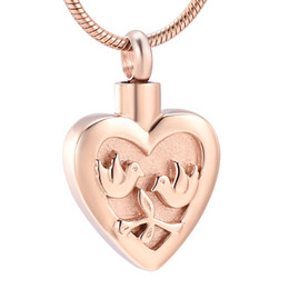 gold peace pendants Australia - LKJ12441 Rose Gold Color Peace Birds Engraving Pet Cremation Jewelry Animal Ashes Holder Keepsake for Women Men