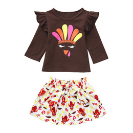 baby turkeys 2019 - Toddler Children Baby Girl Turkey Thanksgiving Ruffle Tops Skirt Clothes Sets Autumn Winter Keep Warm Drop Shipping chea