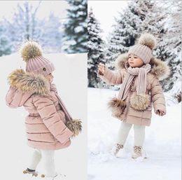 $enCountryForm.capitalKeyWord NZ - Autumn Winter Cute Children Thick Cotton Hooded Down Coat Warm Wear Kids Fashion Long Sleeve Faux Fur Coats Outwear