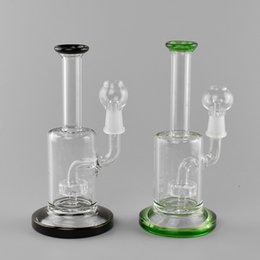 14mm bowl male NZ - Dab oil rig glass bong 7.7 inches recycler water Pipes bongs percolator bubbler 14mm male joint with bowl