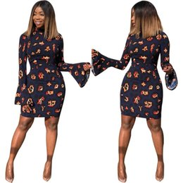 Amazon Printing Australia - Cross-border Amazon Printed Dress trumpet long  sleeve Tight Sexy Leopard 819cd9aae339
