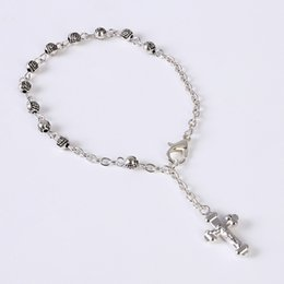 $enCountryForm.capitalKeyWord Australia - 48 pieces wholesale charm stainless steel bracelet small Rosary Bracelet Rose bracelet glamor jewelry pattern