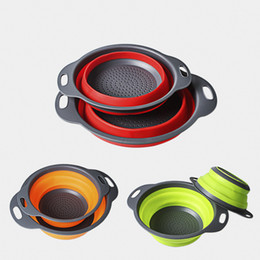 Round Kitchen Sets Australia - Draining Baskets Collapsible Sets Round Silicone Fruit Vegetable Strainer Basket Household Kitchen Articles Tools Non Slip