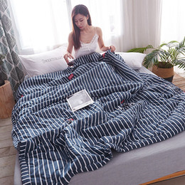 cool blankets 2019 - New Natural Washed Cotton Quilted Air Conditioning Summer Cool Thin Quilt Bedspread Blanket Spring And Autumn Dormitory