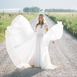 $enCountryForm.capitalKeyWord Australia - Boho Simple Beach A Line Wedding Dresses Lace Appliques Jewel Neck Short Sleeves Tulle Sweep Train Tiered Skirts Custom Cheap Bridal Gowns
