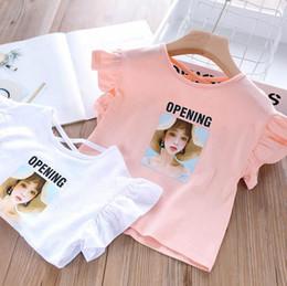 Cute Baby White T Shirt Australia - 2019 Summer Baby Girls Cotton Cartoon Sparkle Top, Princess Kids Cute T-shirt Pink White 5 pieces lot, Wholesale