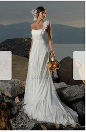 One Shoulder Silk Chiffon Dresses NZ - Sheath Column One Shoulder Court Train Chiffon Wedding Dress 65