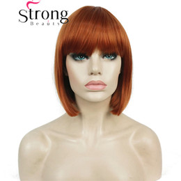 blonde wig full bangs Australia - Short Bob Brown Color Mied Orange Blonde with Highlights Wig Point Part Bangs Full synthetic Wigs COLOUR CHOICES