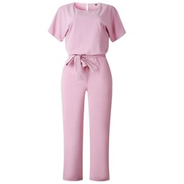 Working Women Jumpsuit Australia - Work Office Women Jumpsuit 2019 Spring Fashion Sexy Overall Loose Solid Long Playsuit Lace Up Sashes Jumpsuit Rompers New M0403 J190620