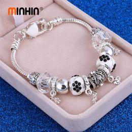 $enCountryForm.capitalKeyWord Australia - MINHIN 2018 Antique Silver Charm Bracelet & Bangles Crystal Ball Wedding Jewelry Wrist Bracelet For Women Mother's Day Gift