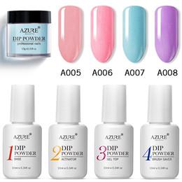 Nail art piNk color online shopping - Azure Beauty Purple Color Dip Powder Nail Art Glitter Powder Decorations French Pink Dipping Base Coat Top Kits