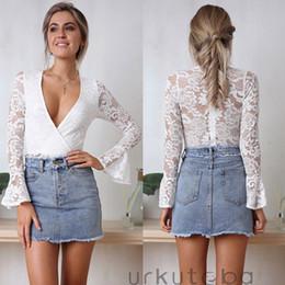 78a07bfdee68 Halter Neck White Jumpsuits Australia - Women Bodysuits Lace Sexy Bodycon  Lace V-neck Attractive