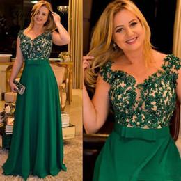 $enCountryForm.capitalKeyWord Australia - A Line Beading Green Mother Of Bride Dresses Applique V-Neck Cap Sleeve Floor Length Wedding Party Guest Evening Prom Gown Plus Size Liyuke