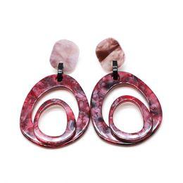 413354ea578 Free Shipping Dark Red Resin Geometric Light Weight Cute Elegant Design  Sweet Stud Earring For Women