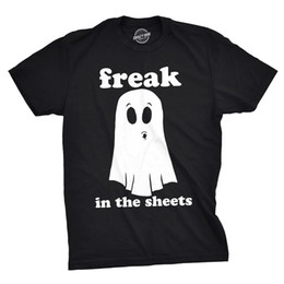 Bedsheet Cotton White Australia - Mens Freak In The Sheets Tshirt Funny Bedsheet Ghost Halloween Tee For Guys Size Discout Hot New Tshirt Denim Clothes Camiseta T Shirt