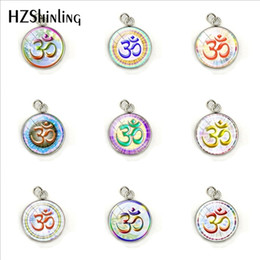 $enCountryForm.capitalKeyWord Australia - New Om Namaste Yoga Symbol Jewelry Pendant Glass Cabochon Round Stainless Steel Plated Necklace Charms Jewelry Accessory