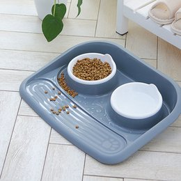 Dog Plates Australia - Antibacterial Pet Bowls Non-slip Plastic Non-spill Plate Dog Cat Food Feeder For Small Medium Dogs Feeding Tools Q190523