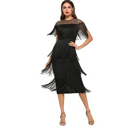 sexy black fringe dresses Australia - New Arrival 2020 Black Fashion Short Sleeve Layered Fringe Bodycon Sexy Women Dresses Summer Slim Fit Pencil Office Ladies Long Dresses