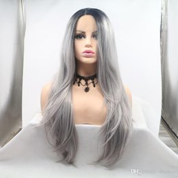 Silver wavy wig online shopping - Silver Lace Wig Ombre Natural Wavy Heat Resistant Fiber Synthetic Dark Root Gray Lace Front Ombre Silver Grey Wigs For Black Women