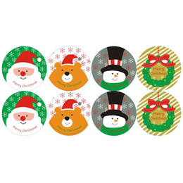 sticky labels NZ - 400pcs lot cute Christmas theme gifts seal sticker seal paper stickers XMAS label adhesive decoration tags sticky wholesale