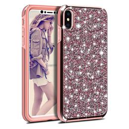 Iphone Cases Rhinestones Wholesale Australia - Premium 2in1 Luxury Diamond Rhinestone Glitter designer phone case For iPhone XR XS MAX Samsung Note 9 J3 J7 2018 Stylo 4