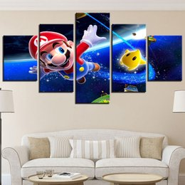 $enCountryForm.capitalKeyWord Australia - 5 Pieces Cartoon Anime Poster Art Canvas Wall Art Modular Game Super Mario Picture Home Decor Painting Kids Room Framework Print