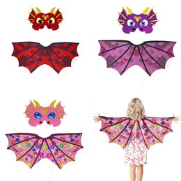 China Kids Designer Clothes Girls Boys Cosplay Dinosaur Dress up Costume Outfits Wings Cape with Mask photography Props Children's day Gifts C6577 cheap dress up animal masks suppliers
