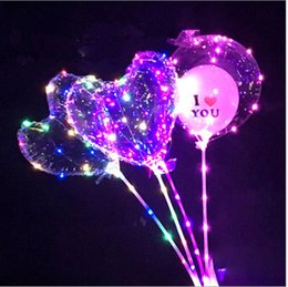 Clear Balls Australia - Valentine's Day gifts led love heart bobo ball balloons night lights clear balloon flash air balloon for wedding party decoration 2018