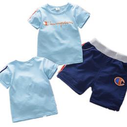 $enCountryForm.capitalKeyWord UK - Baby Kids Clothing Sets Champions Designer Tracksuits T shirt + Side Stripe Shorts Children Sports 2 Piece Outfits For Boys Sportswear B4251