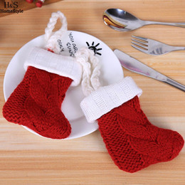Christmas Tables Australia - Sock Decorations Patchwork Knife Cover Room Solid Bag Hotel Table Home Red Christmas Dining Fork