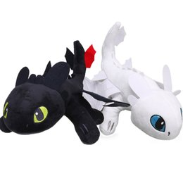 dragon night fury plush NZ - 2pcs 33cm 35cm White Toothless How to Train Your Dragon 3 Plush Toys Night Fury White Light Fury Dragon Soft Stuffed Animal Doll LY191217