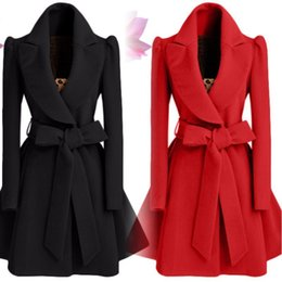 bat belt NZ - Office Lady Long Wool Coat Bat Sleeved Wool Blend Coat and Jacket Turn-down Collar Women Coats Autumn Winter