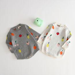 $enCountryForm.capitalKeyWord Australia - Baby sweater romper 2019 fall infant baby girls strawberry cherry knitted long sleeve romper newborn kids cotton diaper F8738