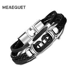 Hematite Jewelry Sets NZ - eather bracelet Meaeguet High Quality Multi-Layered Charms Hematite Bracelets & Bangles Men Rock Jewelry Braided Rope Chain Leather B...