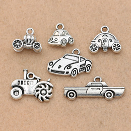 horn charms wholesale NZ - Fashion Jewelry Charms KJjewel Antique Silver Plated Car Tractor Charm Pendant for Bracelet Necklace Jewelry DIY Making Accessories 6 styles