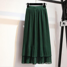 4b809e2425 Faldas Maxi falda plisada Chffion Faldas largas para mujer Estilo de verano  Gris Verde Falda negra DV802