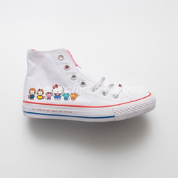 Kitty fabric online shopping - Cute Kitty Cat x Chuck High s Womens Pink chucks Hello Casual Canvas Shoes Skate Womens Trainers Glitter Silver Designer Sneakers
