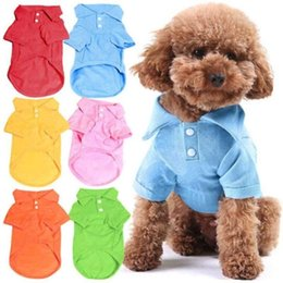 Stock Clothes Winter Australia - 100% cotton pet clothes soft breathable dog cat polo T-shirts pet apparel for spring summer fall 6 colors 5 sizes in stock LX6020