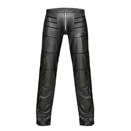 leather trousers bootcut Australia - 2019 Sexy Men Faux Leather Open Crotch Erotic Latex Pants PVC Night Club Men Straps Trousers Gothic Punk Fetish Club