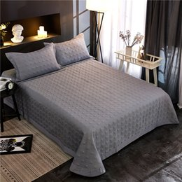 bedspread grey king size beds NZ - Grey color 3 5PCS 100%Egyptian Cotton Bedspread Coverlet Quilted Duvet Quilt Bed cover set Pillow shams Queen King size