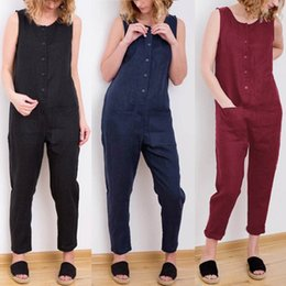 $enCountryForm.capitalKeyWord Australia - Celmia 2019 New Women Overalls Casual Solid Sleeveless Cotton Linen Jumpsuits Long Trousers Playsuits Pockets Plus Size Romper Y19051501