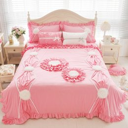 Beautiful Modern Bedding Australia - 4 styles Bright Pink Grey Sunflower Duvet Cover Sets Ruffled Cotton Beautiful Bedding Set Queen
