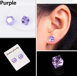 bf471b7c4 New Zircon Cube Magnetic Stud Slimming Earrings Lose Weight Health Non-Pierced  Earring Magnets Jewelry Men Women 9 Colors gift