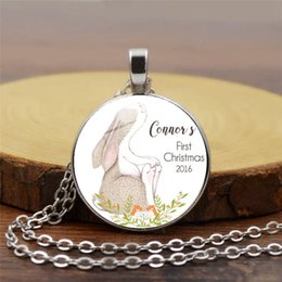 $enCountryForm.capitalKeyWord Australia - Best selling all-glass pendant accessories Easter bunny pattern tri-color dome pendant necklace Christian jewelry individually wrapped