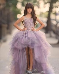 $enCountryForm.capitalKeyWord Australia - 2019 Unique Design High Low Girls Pageant Dresses Jewel Lace Appliques Hi-Lo Lilac Kids Flower Girls Dress Ball Gown Child Birthday Gowns