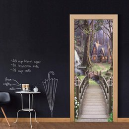 Cartoon Nature Australia - DIY Door Sticker Cartoon Forest Village Decal Art Decor Vinyl Door Poster Removable Mural Door Wallpaper Kitchen accessories