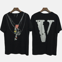Discount new hip hop streetwear tees - New VLONE Reflective T-SHIRT Hip Hop Necklace Print Short Sleeve Tee Cool Club Top Streetwear Men Women Cotton Skateboar