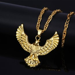 Eagle Hawk Pendant Australia - Hip Hop Jewelry for Men Jewelry Punk Biker Gold Color Titanium Stainless Steel Animal Eagle Necklace Hawk Wing Pendants Necklaces